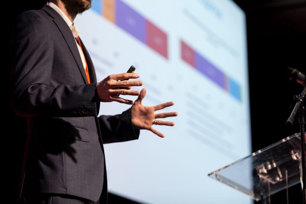 Presenter at business conference or presentation